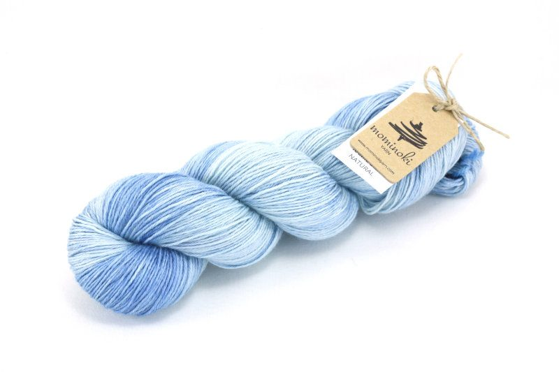 RAMIE SILK Natural - Indigo Sky Blue