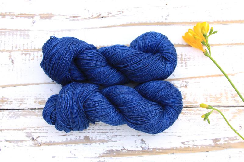 Ramie Silk Natural Deep Blue